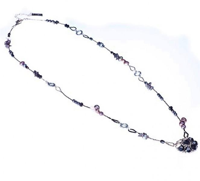 Halskette lang, 16049 Rocailles-Black-Silver