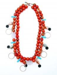 Halskette Holzperlen rot 18424L