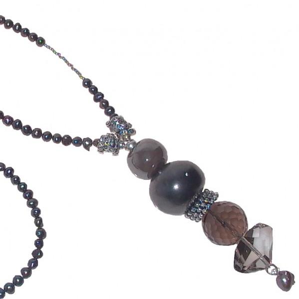 Halskette lang Art.262 Süßwasserperle grau