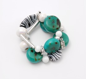 Fiva Armband Zebra-Türkis