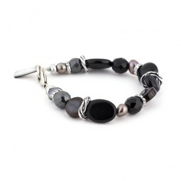 Armband A43 schwarz mit lila Süßwasserperlen
