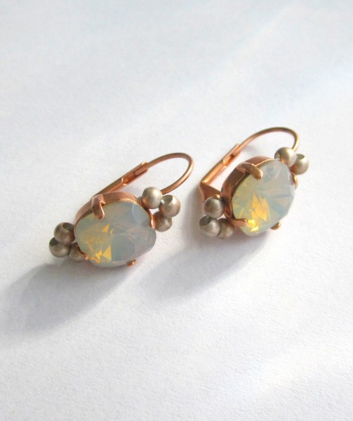 Ohrringe Basic Kupfer Lightgrey-Opal