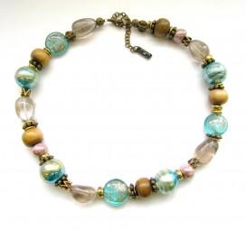 Fiva Halskette Aquablau-Holz