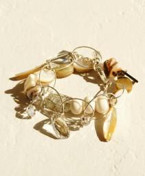 Armband 2 teilig Perlmutt-Bone-Swarovski Glasperlen