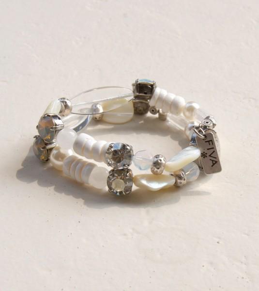Armband Muschel-Weiß-Kristall