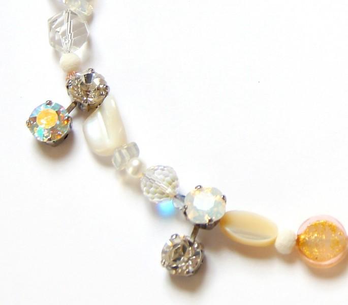 Collier Bergkristall Perlmutt