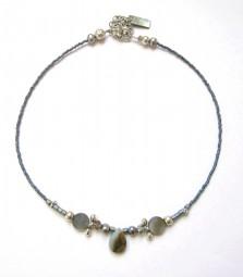 Fiva Halskette Blau-Grau-Perlmutt