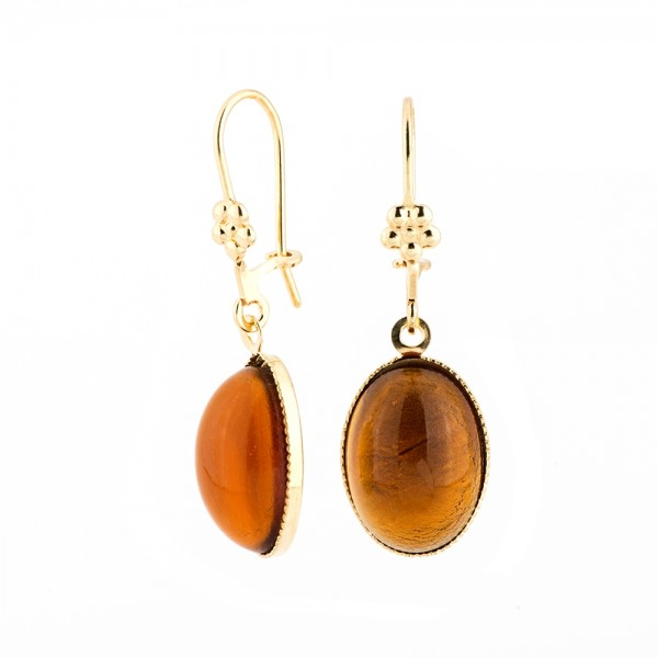 Ohrringe O18 B vergoldet mit Glas Cabochon in Orange
