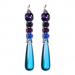 Fiva Ohrhänger Tropfen in Blau, lange Form