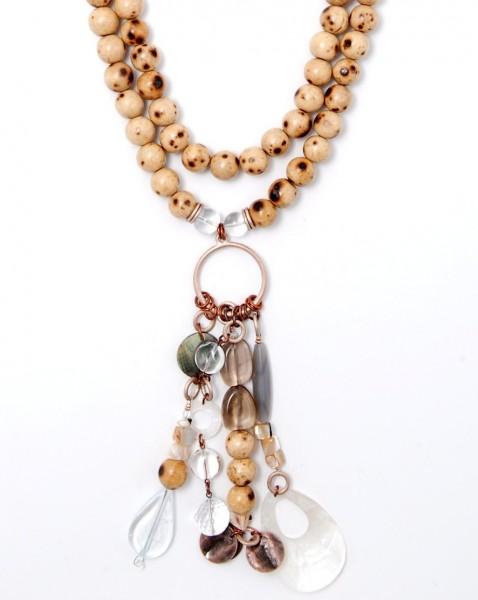 Halskette Holz-Perlmutt