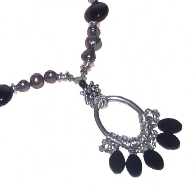 Halskette lang Art.264 Süßwasserperle-Onyx
