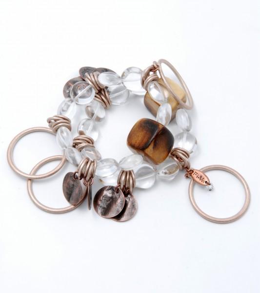 Fiva Armband Holzwürfel-Bergkristall