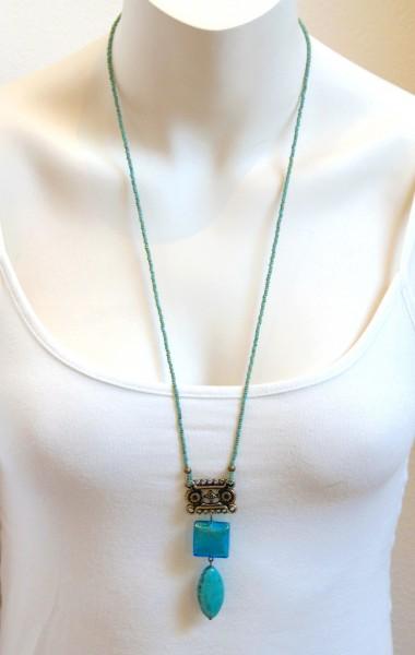 Halskette Türkis-Howlith