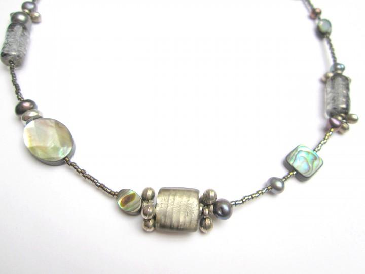 Halskette Silber-Grau-Perlmutt
