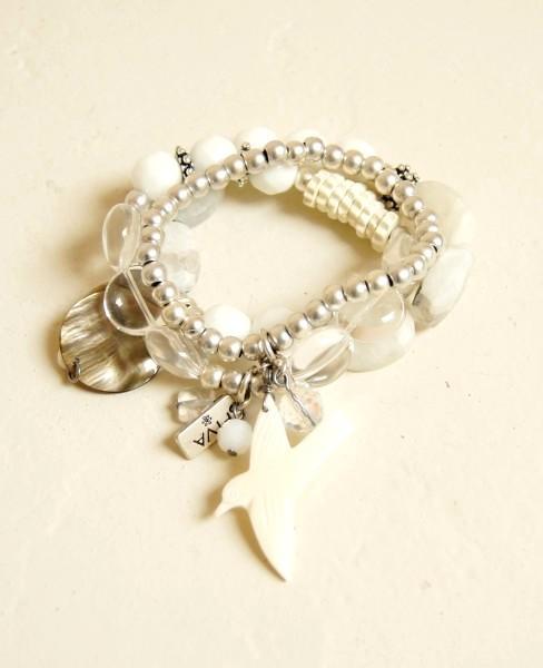 Armband Mondstein-Bergkristall mit Vogel Anhänger