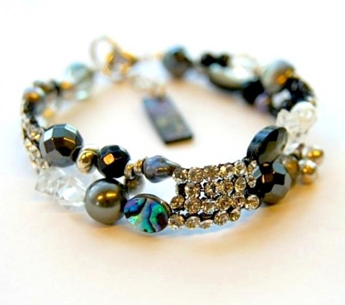 Armband Crystal Mesh-Dunkelgrau