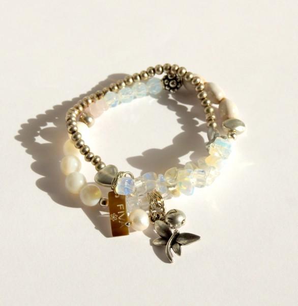 Armband Weiss Perlmutt Libelle