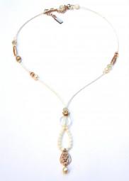 Romantische Fiva Halskette Weiß Champagner - Rose`