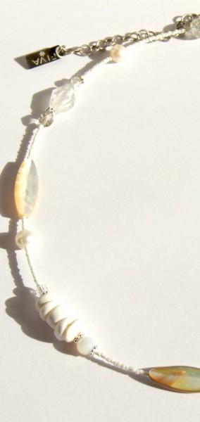 Halskette Muschel-Weiß