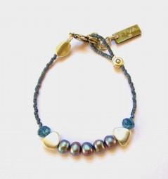 Fiva Armband fein Blaugrau-Süßwasserperlen