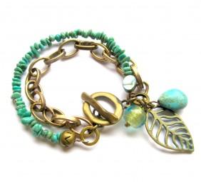 Armband Türkis-Altgold rustikal