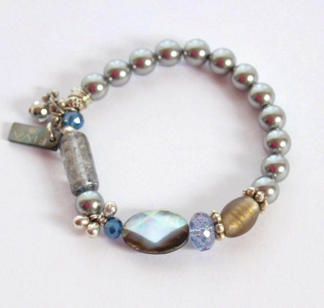 Armband Graue Perle mit schwarzem Perlmutt