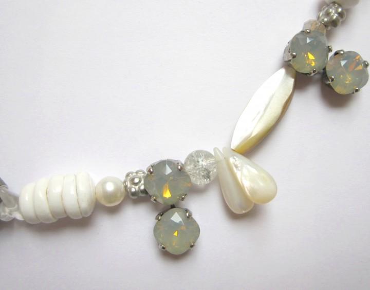 Fiva Sommer Collier Weiß Lightgrey Opal Perlmutt