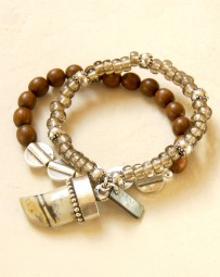 Armband 2tlg. Holz-Jaspiszahn