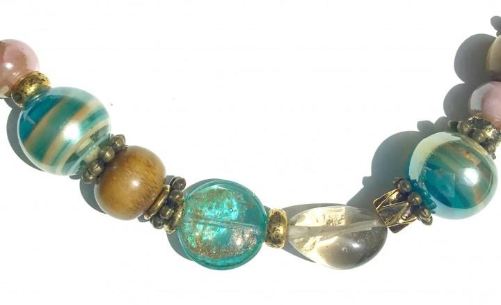 Fiva Halskette Aqua Blau Holz