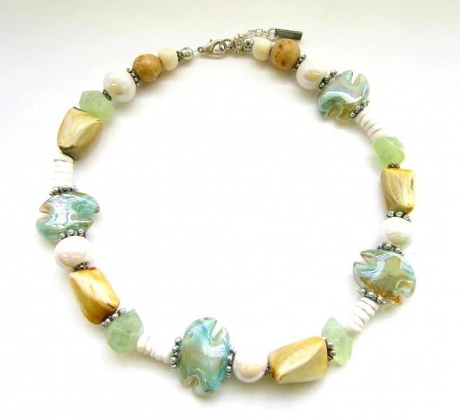 Halskette Weiß-Hellgrün