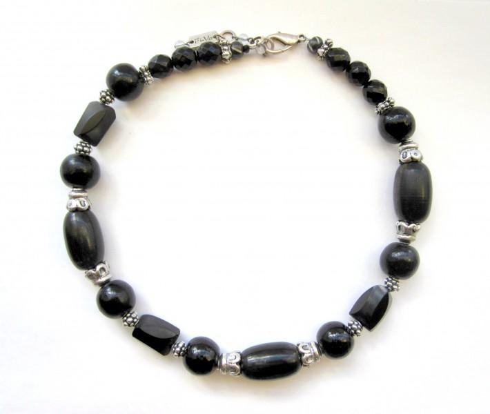 Fiva Halskette Ebenholz Schwarz Silber