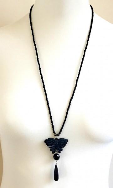 Onyx Falter Halskette lang