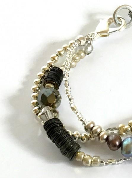 Armband Onyx-Perlmutt-Silber