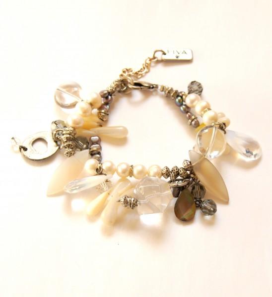 Fiva Armband Perlmutt-Perle-Kristall