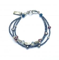Armband Graublau mit Süßwasserperlen 3reihig