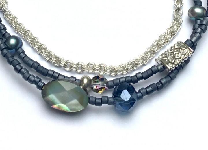 Armband Blaugrau Silber