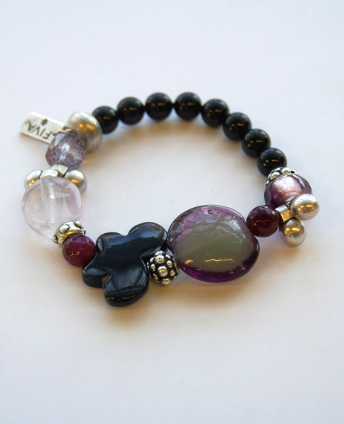 Armband Onyx-Falter-Amethyst