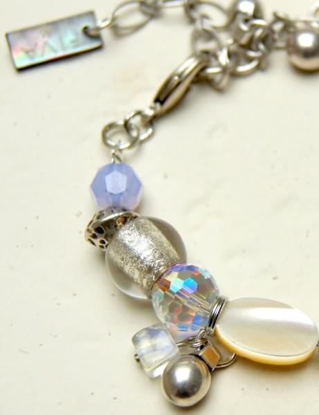 Armband Silbertropfen-Bergkristallherz