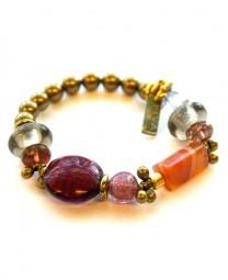 Armband Bronze-Karneol-Murano