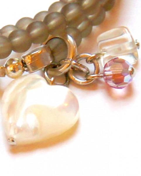 Fiva Armband 3teilig Taupe mit Bergkristall & Perlmutt