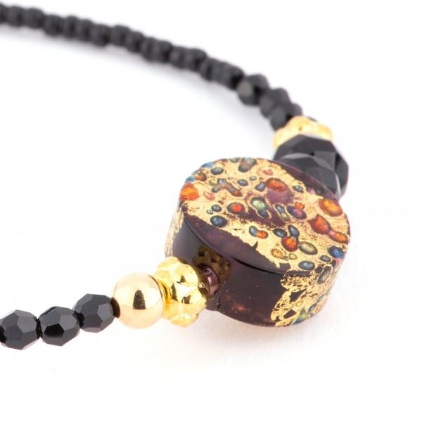 Fiva Armband fein, Typ A04 Murano Schwarz-Gold