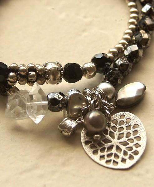 Armband 2teilig Silberregen-Bergkristall