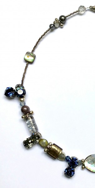 Collier Grau-Silber-Perlmutt