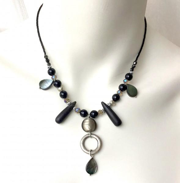 Collierkette Onyx-Perlmutt