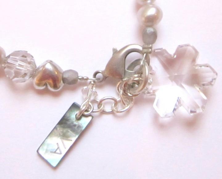 Armband Süßwasserperlen weiß, Swarovski Schneekristall