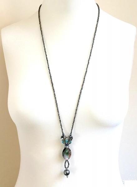 Fiva Halskette Grau-Türkisblau