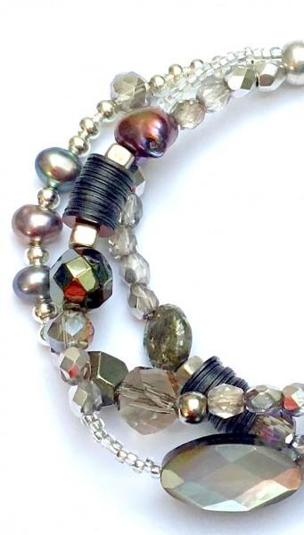 Fiva Armband Perlmutt-Silber-Dunkelbunt