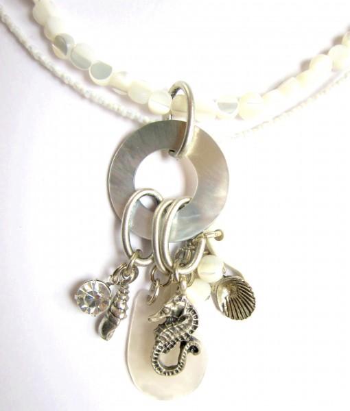 Fiva Sommerkette Weiß mit Perlmuttring