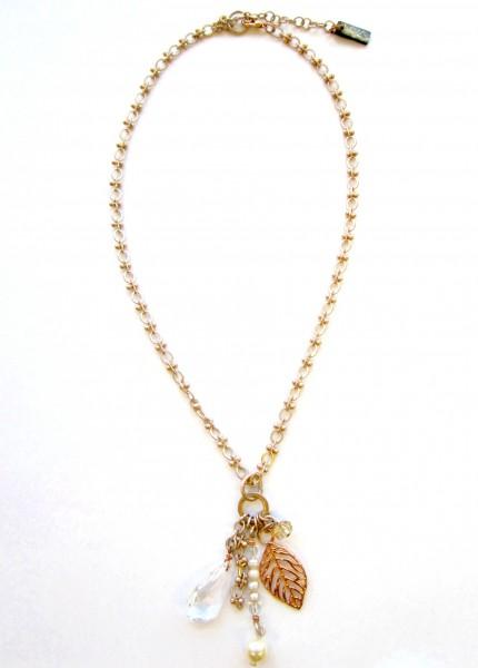 Halskette Champagner-Rose` mit Süßwasserperlen