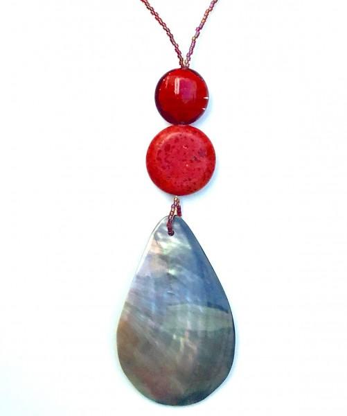 Halskette Rote Koralle Perlmutt